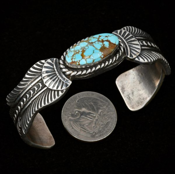 Heavy-gauge Navajo No. 8 Mine turquoise dead-pawn cuff with 7-inch inside circumference. #1356