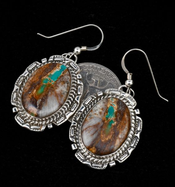Navajo ribbon turquoise earrings by Augustine Largo.