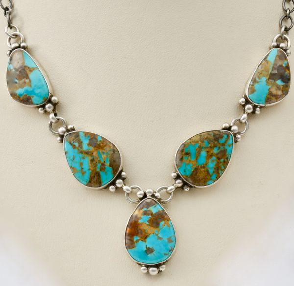 Small Navajo five-pendant necklace with Kingman turquoise, by Robert Livingston.