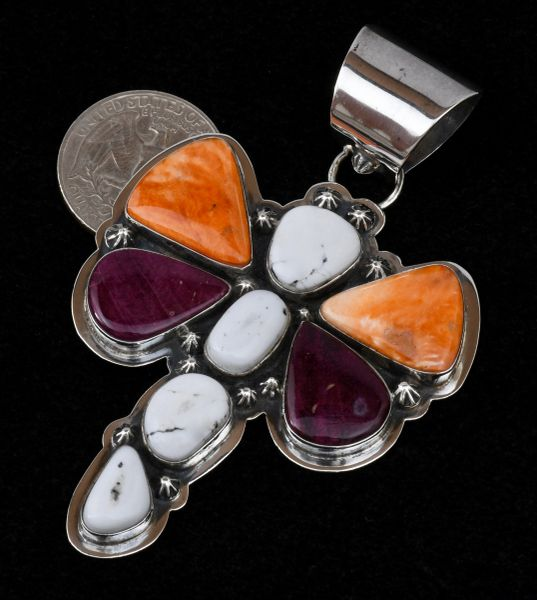 Navajo dragonfly pendant with orange and purple spiney oyster and white buffalo.—SOLD!