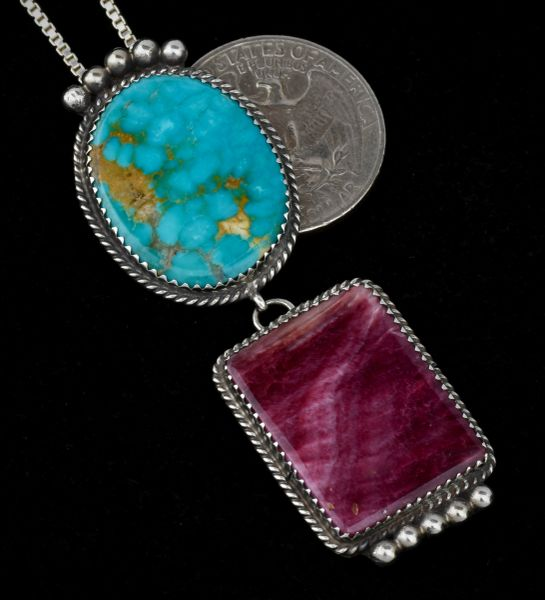 Navajo two-piece earrings with purple spiney oyster and turquoise, by Betty Joe (chain included).