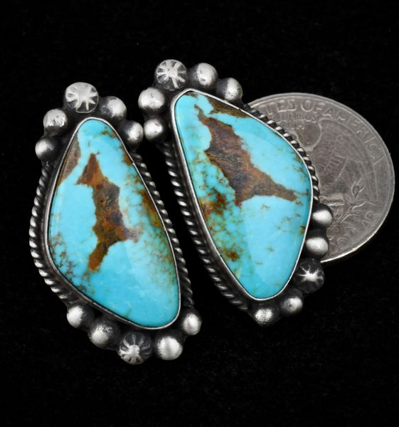 Navajo stud earrings with matching Kingman turquoise and old-style patina by Augustine Largo.