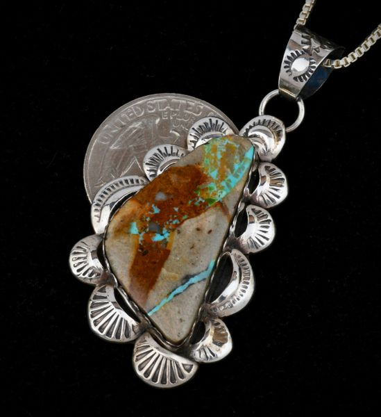 Gilbert Tom ribbon turquoise pendant with chain.