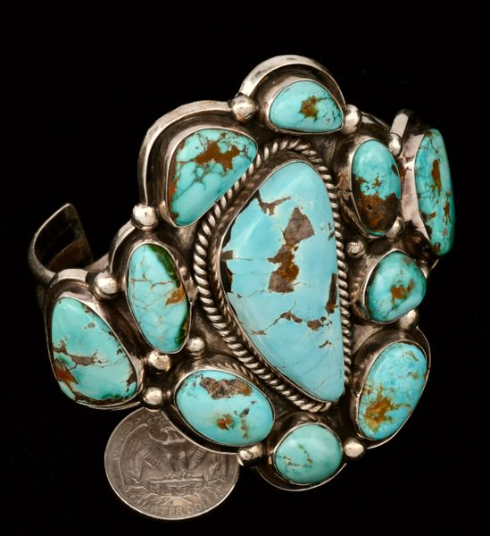 Stunning Navajo eleven-stone turquoise dead-pawn cuff with larger, 7-inch wrist size. #1369 SOLD!