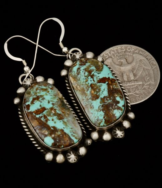 Navajo turquoise hanger earrings by Augustine Largo.