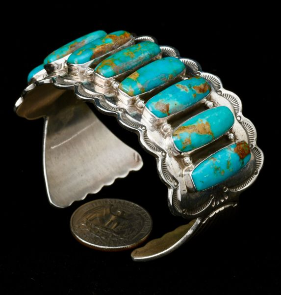 Exquisite Navajo row cuff with 8 Royston turquoise stones, by