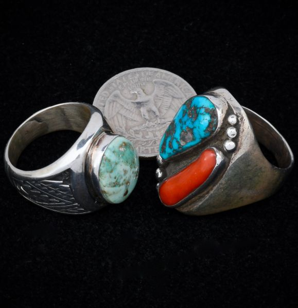 Heavy silver dead-pawn Navajo size 11 ring with red coral and Sleeping Beauty turquoise (on right side of pic).