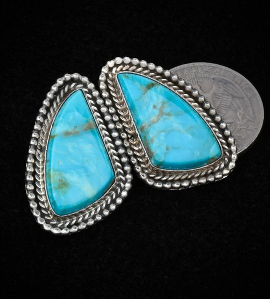 Beautiful baby-blue Kingman turquoise dead-pawn Navajo earrings.
