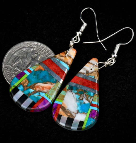 Inlay Navajo earrings with turquoise/spiney oyster; mother-of-pearl and black onyx.—SOLD!