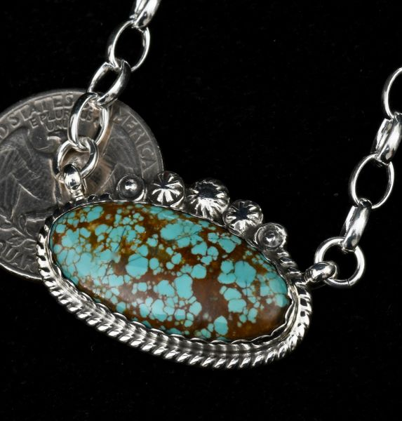 Custom made Navajo bar necklace with premium No. 8 Mine turquoise and heavier gauge chain, by Robert Shakey