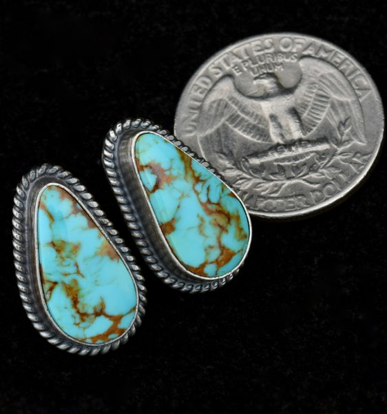 Smaller stud earrings with hand-picked, high quality Kingman, Arizona turquoise, by Elouise Kee.