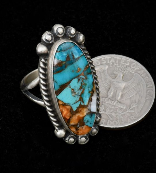 Size 7.25 Navajo ring with turquoise, spiney-oyster and bronze.