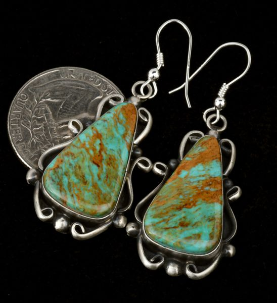 Navajo earrings with high copper matrix Royston turquoise, by Elouise Kee.