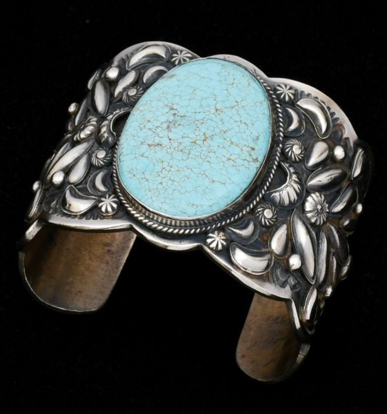 Custom made, heavy-silver Navajo cuff with repousse' and old, original No. 8 Mine turquoise, by Gilbert Tom. #1391—SOLD!