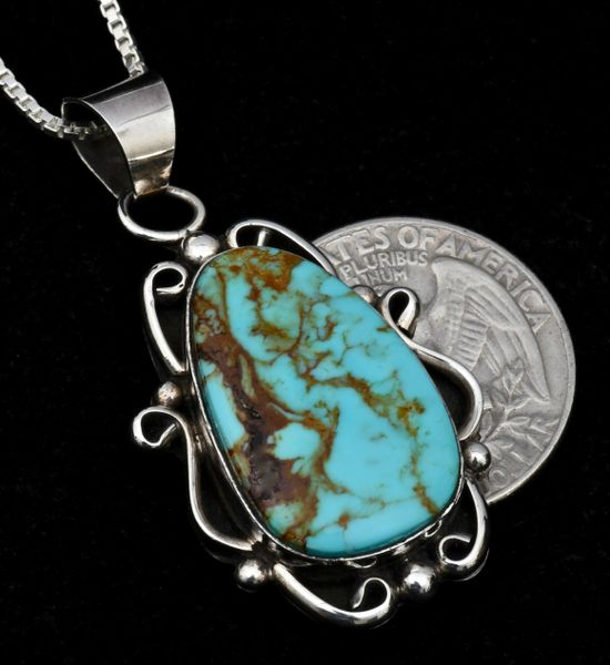 Smaller Navajo pendant (and chain) with Kingman turquoise, by Elouise Kee.