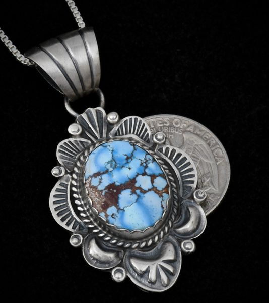 Navajo old-style patina pendant (and chain) with Golden Hills turquoise, by Robert Shakey.