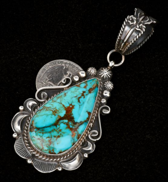 Large Navajo teardrop pendant with Kingman, Arizona turquoise by Robert Shakey.