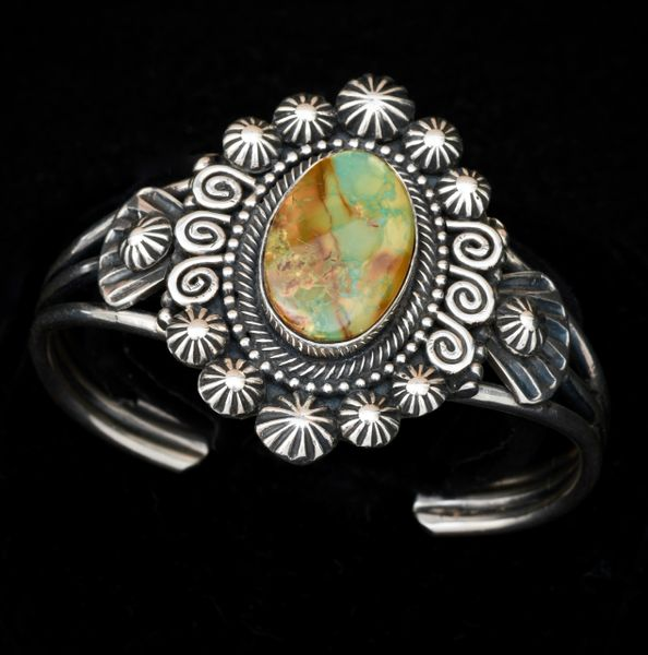 Jesse Martinez' heavier-gauge Sterling single-stone Navajo cuff.