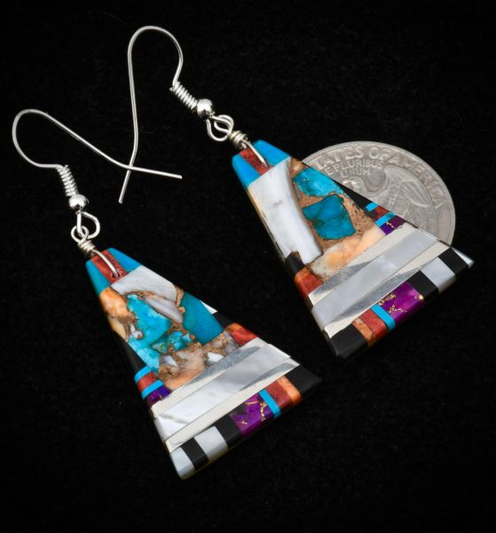 Unique mother-of-pearl and turquoise/spiney-oyster/bronze mix Navajo earrings.—SOLD!