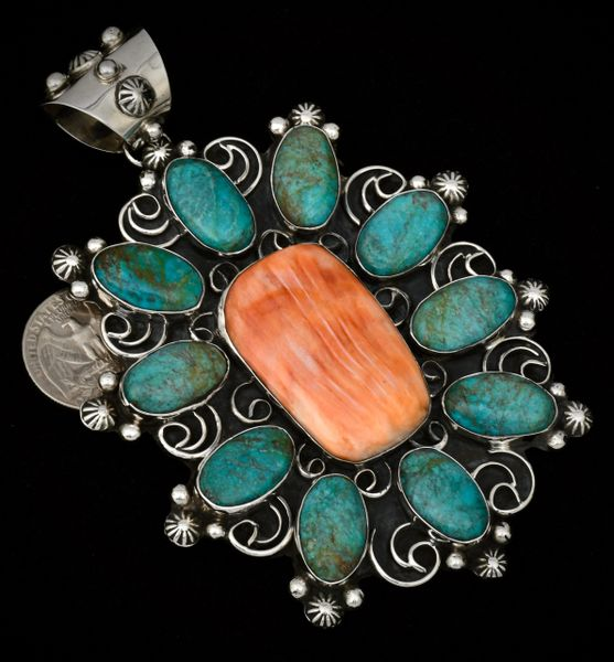 Very large 11-stone cluster pendant with spiney-oyster and turquoise, by Chimney Butte.