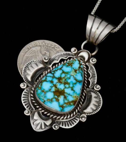 Water-web Kingman turquoise pendant (with chain) by Robert Shakey.