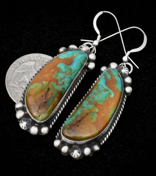 Royston, Nevada turquoise earrings by Navajo silversmith Augustine Largo.