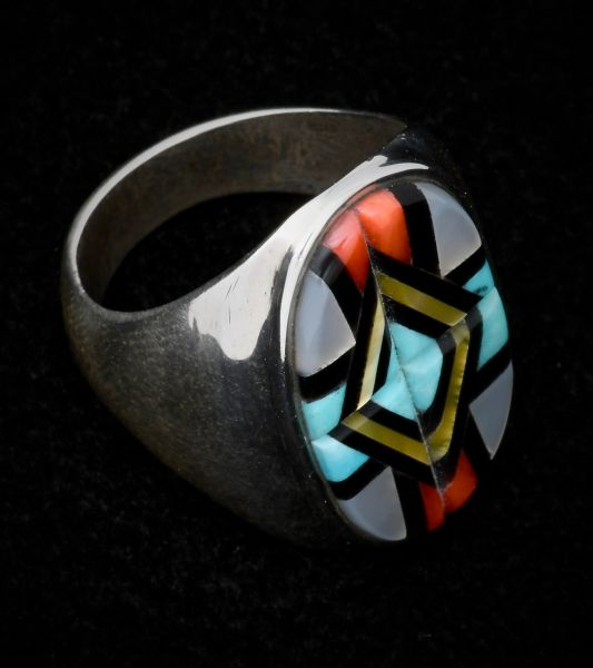 Zuni inlay size 10 and 3/8th's dead-pawn ring with red coral; turquoise and mother-of-pearl.
