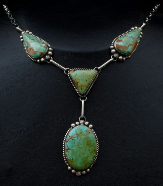 Navajo four-pendant turquoise necklace with matching earrings (see second pic below), by Augustine Largo