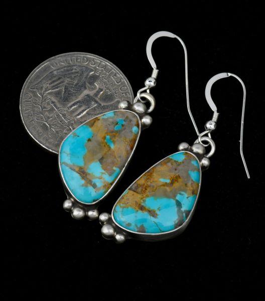 Near-match Navajo earrings with Kingman turquoise.