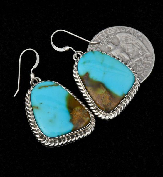 Navajo earrings with near-match Kingman turquoise, by Donovan Skeet.