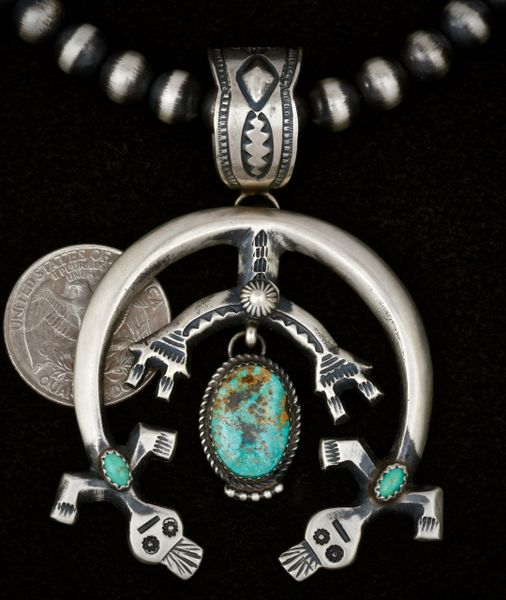 "Three-turquoise-stone Kachina Naja (shown with optional 8mm burnished Navajo ""pearls"")."