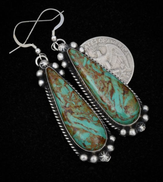 Elegant Navajo earrings with Royston turquoise by Augustine Largo.