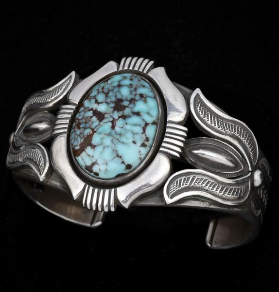 A little older Calvin Martinez' heavy-silver Navajo cuff with beautiful Dry Creek turquoise. #1425