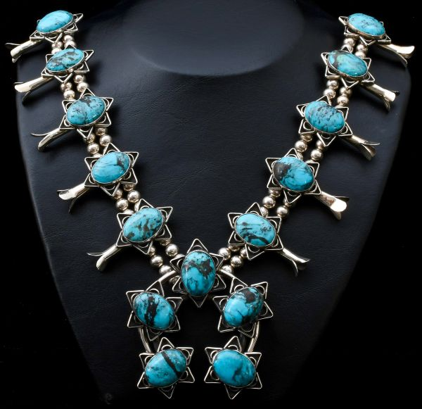 Knockout Chimney Butte squash-blossom necklace made longer and with blue Kingman turquoise.