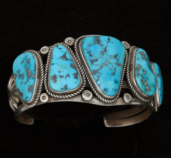 Classic older Navajo pawn cuff with triangular Sleeping Beauty stones. #1439