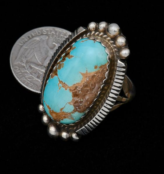 Size 8 Navajo ring with Kingman turquoise by Augustine Largo.—SOLD!