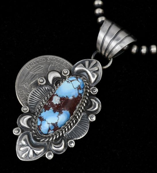 """Golden Hills turquoise Navajo pendant with 4mm, 20-inch burnished Sterling Navajo """"pearls."""""""