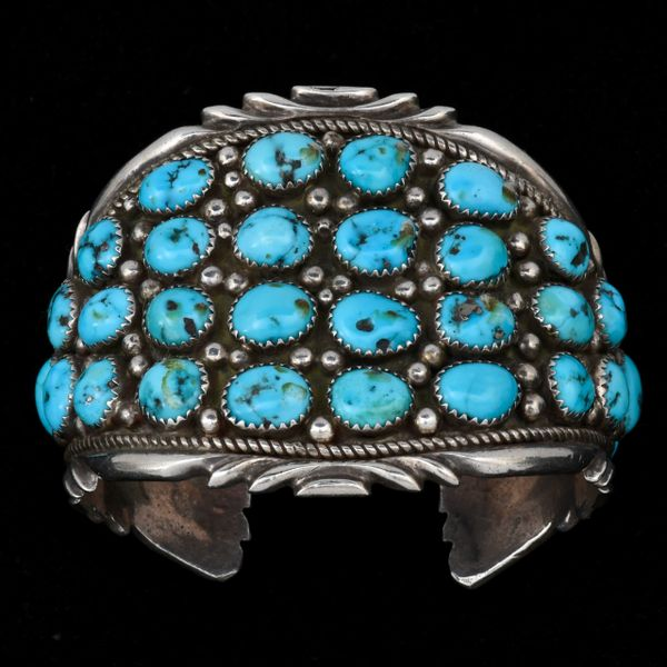 Older Navajo pawn cluster cuff with Sleeping Beauty turquoise. #1455