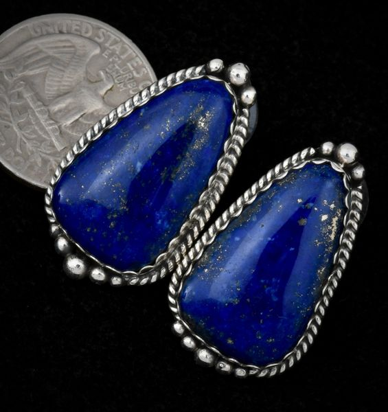Navajo earrings with real Lapis Lazuli stones by Elouise Kee. #1459