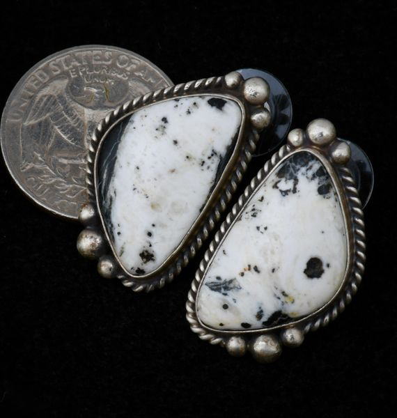 Navajo studs with real White Buffalo stone, by Augustine Largo. #1464