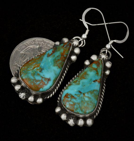 Navajo turquoise teardrop earrings by Augustine Largo. #1465