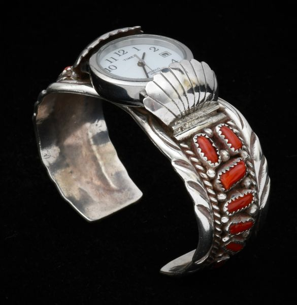 Navajo ladies pawn watchband with 14 pieces of Mediterranean blood-red coral. #1466