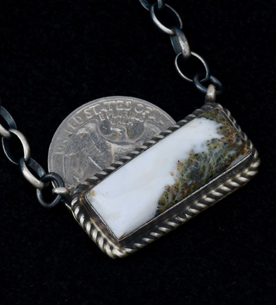 Sterling Navajo bar necklace with high-matrix white buffalo stone.