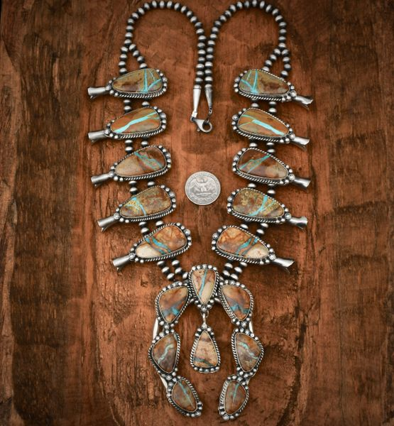 Navajo squash-blossom necklace with 18 ribbon turquoise stones.—SOLD!