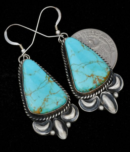 Baby blue Kingman turquoise Navajo earrings three pieces of reverse-stamped repousse' #1472