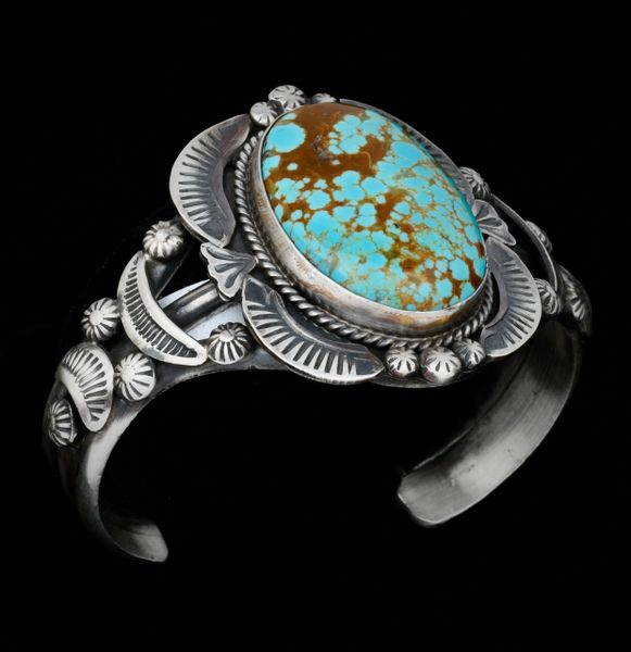 Old-style Navajo cuff with No. 8 Mine turquoise by master silversmith Gilbert Tom.