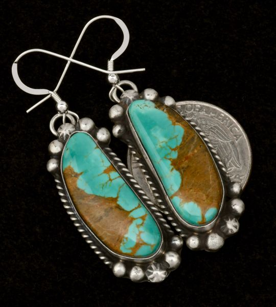 Navajo earrings with Royston, Nevada turquoise by Augustine Largo. #1478
