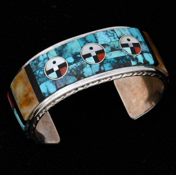 Authentic Zuni Pueblo pawn cuff with end-to-end turquoise, jasper, mother-of-pearl, black onyx and coral inlay. #1479