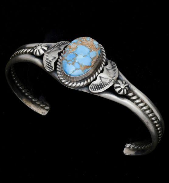 Golden Hills turquoise Navajo cuff by Gilbert Tom