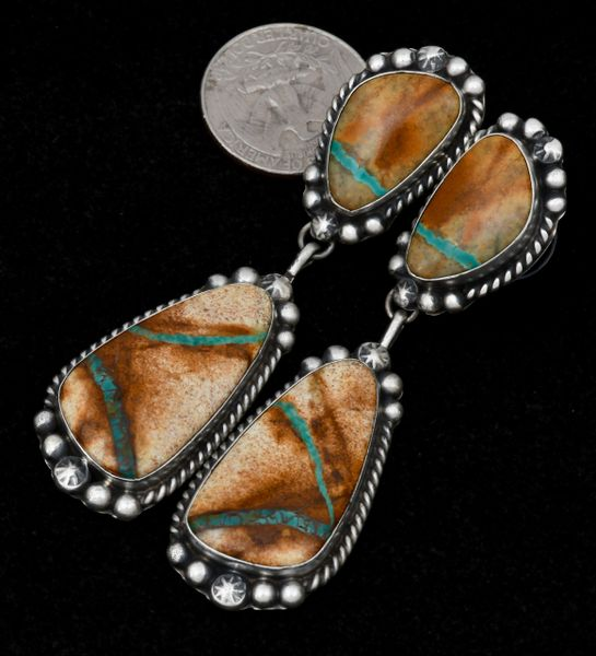 Two-piece ribbon turquoise Navajo earrings, by Augustine Largo.—SOLD!